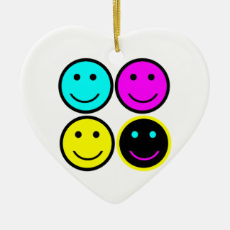 cute cmyk smiley face design christmas ornaments