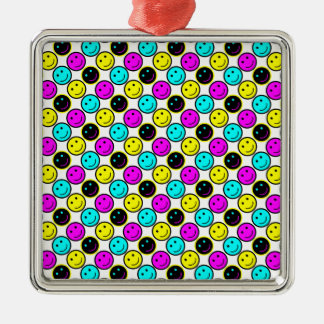 cute cmyk smiley face design square metal christmas ornament
