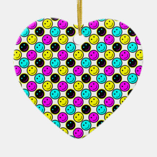 cute cmyk smiley face design Double-Sided heart ceramic christmas ornament