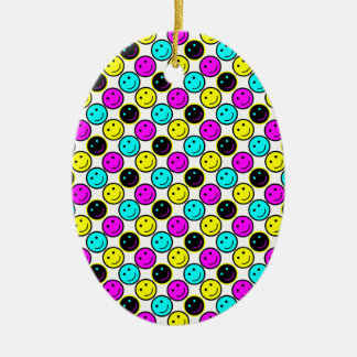 cute cmyk smiley face design Double-Sided oval ceramic christmas ornament