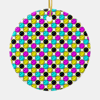 cute cmyk smiley face design Double-Sided ceramic round christmas ornament