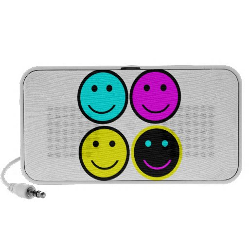 cute cmyk smiley face design iPhone speakers