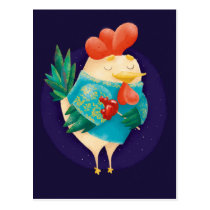 Cute Cock with Lollipop Postcard