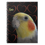 Cute Cockatiel and Hearts Journals