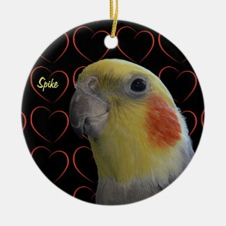 Cute Cockatiel and Hearts Double-Sided Ceramic Round Christmas Ornament