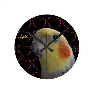 Cute Cockatiel and Hearts Round Clock