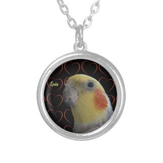 Cute Cockatiel and Hearts Round Pendant Necklace