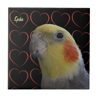 Cute Cockatiel and Hearts Tile