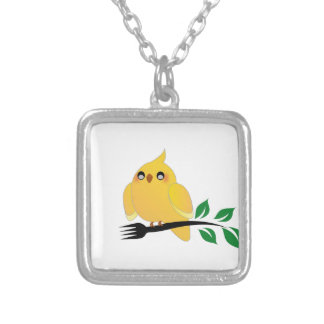 Cute cockatiel holding a fork custom necklace