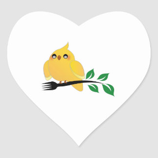 Cute cockatiel holding a fork heart sticker