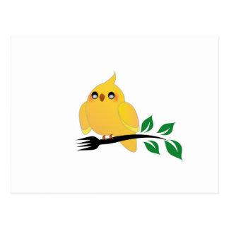 Cute cockatiel holding a fork postcard