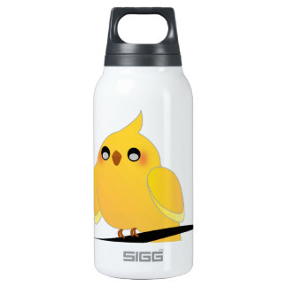 Cute cockatiel on a twig insulated water bottle