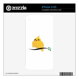 Cute cockatiel on a twig iPhone 4S decals