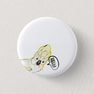 cute cockatoo bird pinback button
