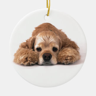Cute Cocker Spaniel Ceramic Ornament