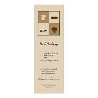 Cute Coffee and Cupcakes in Chocolate and Beige Mini Business Card