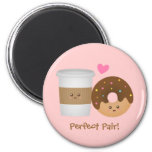 Cute Coffee and Donut in love, Perfect Pair 2 Inch Round Magnet
