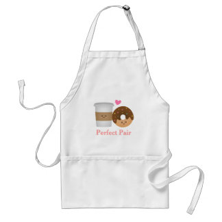 Cute Coffee and Donut in love, Perfect Pair Adult Apron