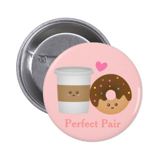 Cute Coffee and Donut in love Perfect Pair Button