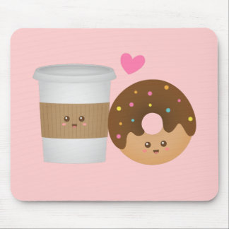 Cute Coffee and Donut in Love, Perfect Pair Mouse Pad