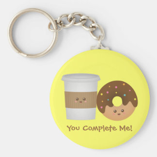 Cute Coffee and Donut, You complete me Basic Round Button Keychain