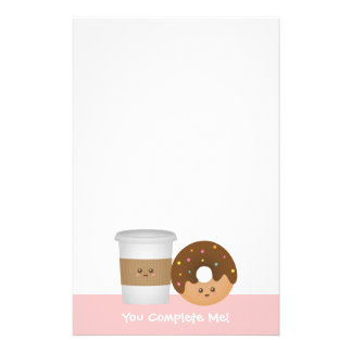 Cute Coffee and Donut, You complete me Stationery
