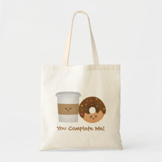 Cute Coffee and Donut, You complete me Tote Bag