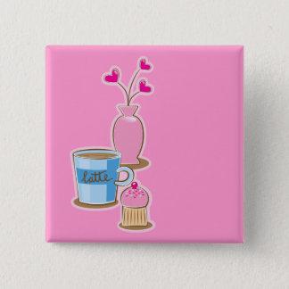 Cute coffee break with latte flowers hearts button
