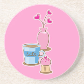 Cute coffee break with latte flowers hearts coaster