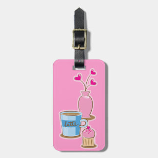 Cute coffee break with latte flowers hearts luggage tag