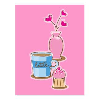Cute coffee break with latte flowers hearts postcard
