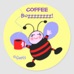 Cute Coffee Caffeine Buzz Bee Stickers
