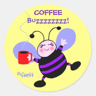 Cute Coffee Caffeine Buzz Busy Bee Purple Stripes Classic Round Sticker