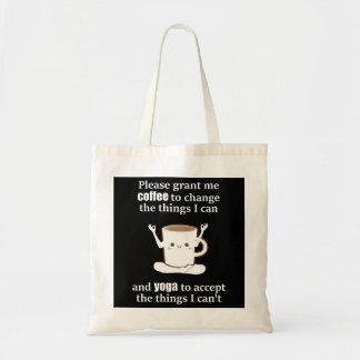 Cute coffee cup doing Yoga Tote Bag