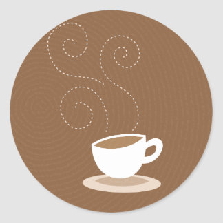 Cute coffee cup on brown pattern background classic round sticker