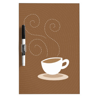 Cute coffee cup on brown pattern background dry erase board