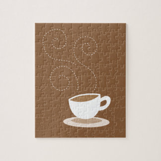 Cute coffee cup on brown pattern background jigsaw puzzle