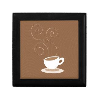 Cute coffee cup on brown pattern background keepsake box