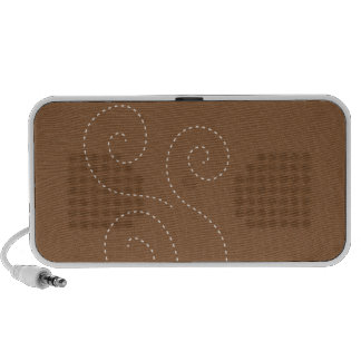 Cute coffee cup on brown pattern background iPhone speakers