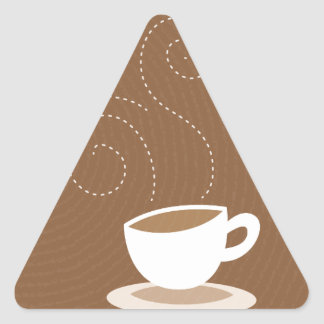 Cute coffee cup on brown pattern background triangle sticker