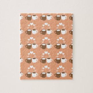 Cute coffee cups on peach love hearts jigsaw puzzle