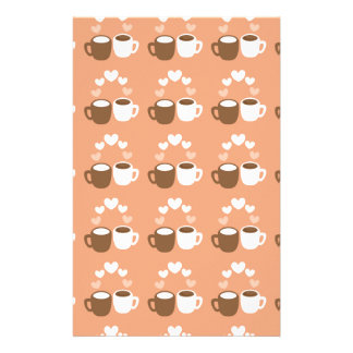 Cute coffee cups on peach love hearts stationery