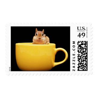 Cute Coffee Loving Chipmunk Postage