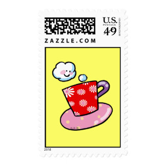 Cute coffee mug with steam postage stamps