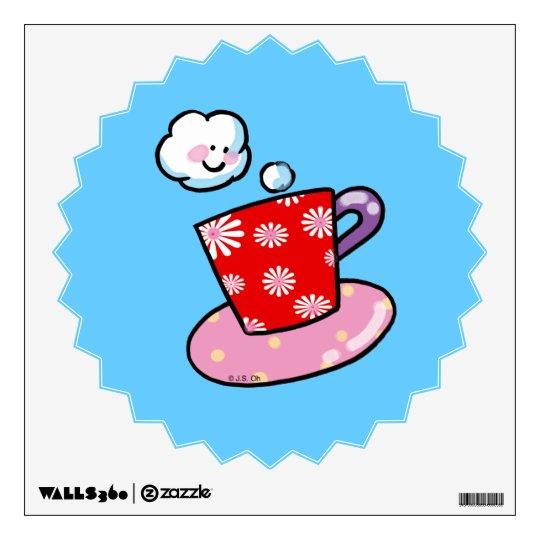 Cute coffee mug with steam wall decal