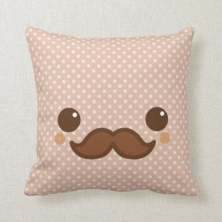 Cute coffee mustache throw pillow