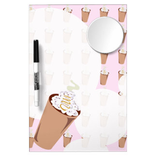 Cute Coffee Time Dry Erase Board With Mirror