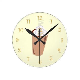 Cute Coffee Time Round Clock