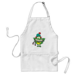 cute cold shivering winter froggy frog apron