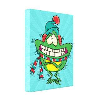 cute cold shivering winter froggy frog stretched canvas print